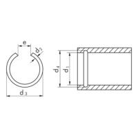 Körhuzalból készült seeger gyűrű és seeger gyűrű horony, RB alak, furatokhoz