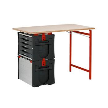 ORSY®BULL – Werkbank Serie 5 Setzt sich zusammen aus: je 1 x ORSY®BULL-Box Frontlader Serie 5, ORSY®BULL-Schubladenbox Serie 5, ORSY®BULL Arbeitsplatte Serie 5