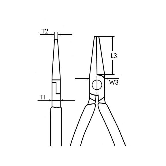 VDE kerek laposfogó, DIN ISO 5745, IEC 60900 - VDE LAPOS FOGÓ -L210MM