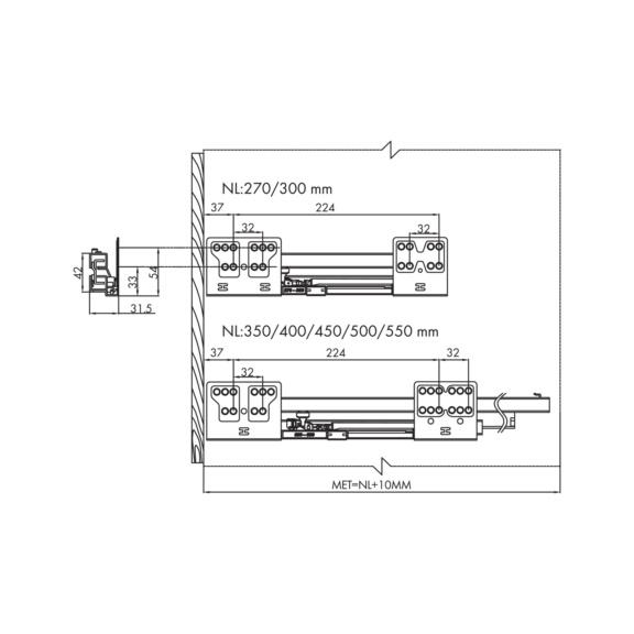Drawer Slidebox H84 - FRMSYS-SLIDEBOX-KIT-H84-GREY-450