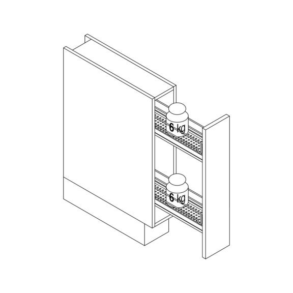 Gaveta extens. 90 g. 150 mm larg. c/ suporte tab. - EXTENSAO TOTAL 90. C/SUPORTE P/TABULEIRO