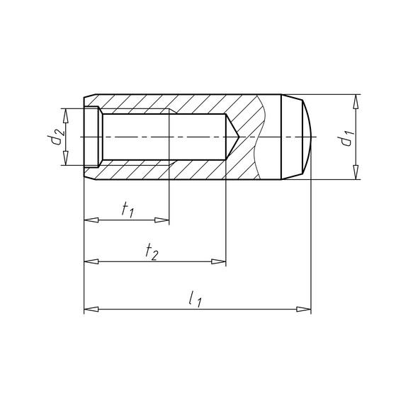 Goupille cylindrique avec filetage femelle - GOUPILLE-CYL-DIN7979-D-M6-6X40