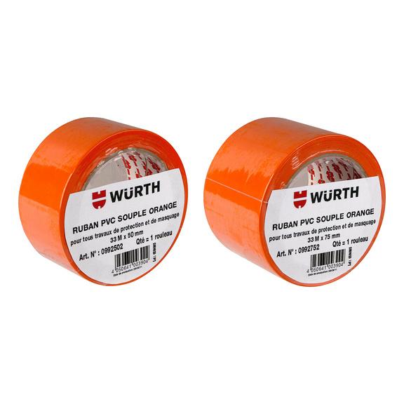 Ruban PVC orange  - RUBAN PVC SOUPLE ORANGE 50MM X 33M