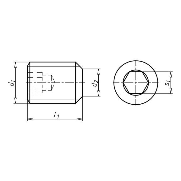 Stavěcí šroub s vnitřním šestihranem s kruhovým břitem - ŠRB-KUŽDŮL-ISO4029-45H-IH1,5-M3X10