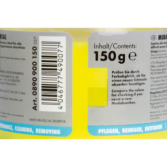 Universal dirt absorber compound - MUDABSORB-UNIVERSAL-150G-CUP