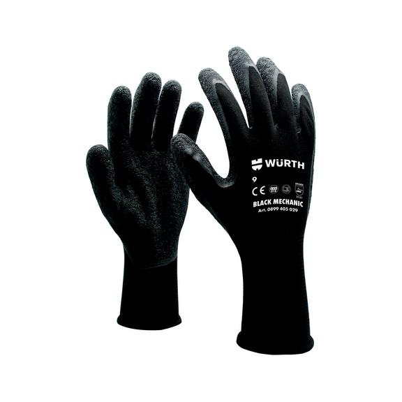 防护手套 技工用,黑色 - 机工手套-黑色-8号
