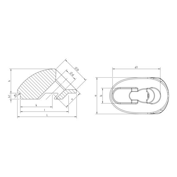 Plaque coudée à 45°, trou oblong - RONDELLE D'ANGLE 45° OVALE 4-15