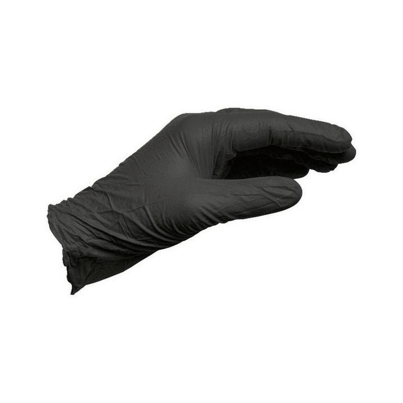 Czarna, jednorazowa rękawica nitrylowa bezpudrowa  - REKAWICE OCHRONNE-NITRILE-BLACK-L