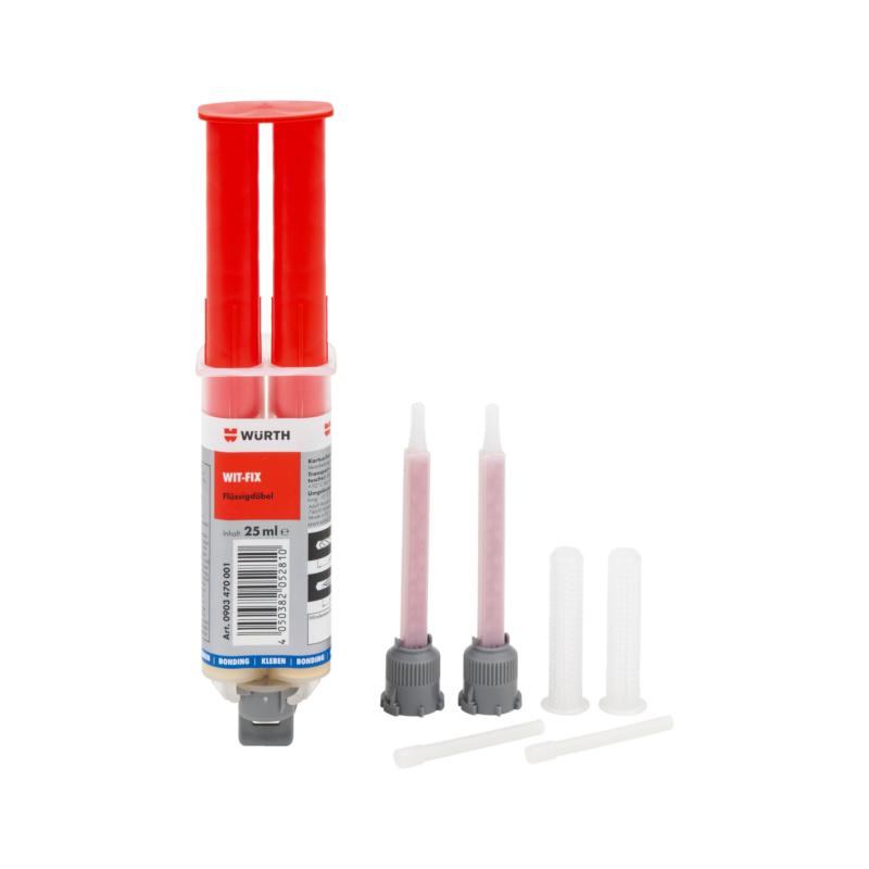 Flüssigdübel WIT-FIX Zur Befestigung von leichten Bauteilen, Reparatur und Ausfüllen von ausgebrochenen oder zu groß gebohrten Bohrlöchern oder als Reparaturmasse für Holzwerkstoffe.