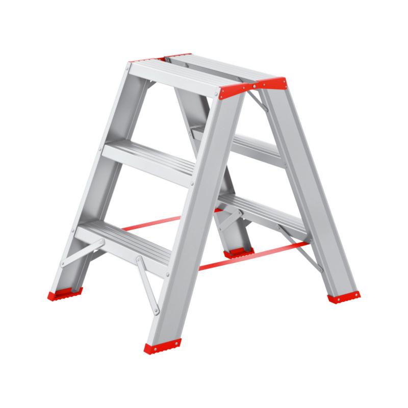 Alu-Stufenstehleiter 2x3 Trittsicher und robuste Verarbeitung durch Spezialnieten.