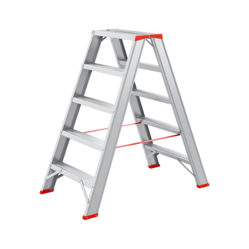 Alu-Stufenstehleiter 2x5 Mit Stufen und Holm aus Alu-Stangenpressprofil