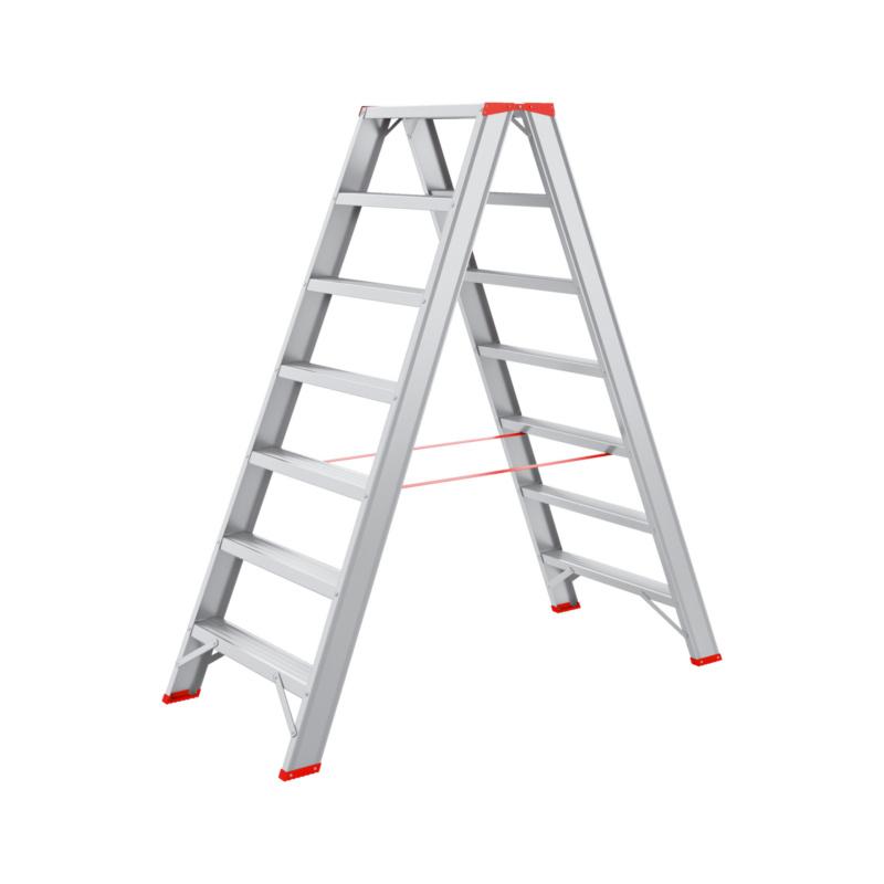 Alu-Stufenstehleiter 2x7 Stabile Leiter mit 2x7 Sprossen.
