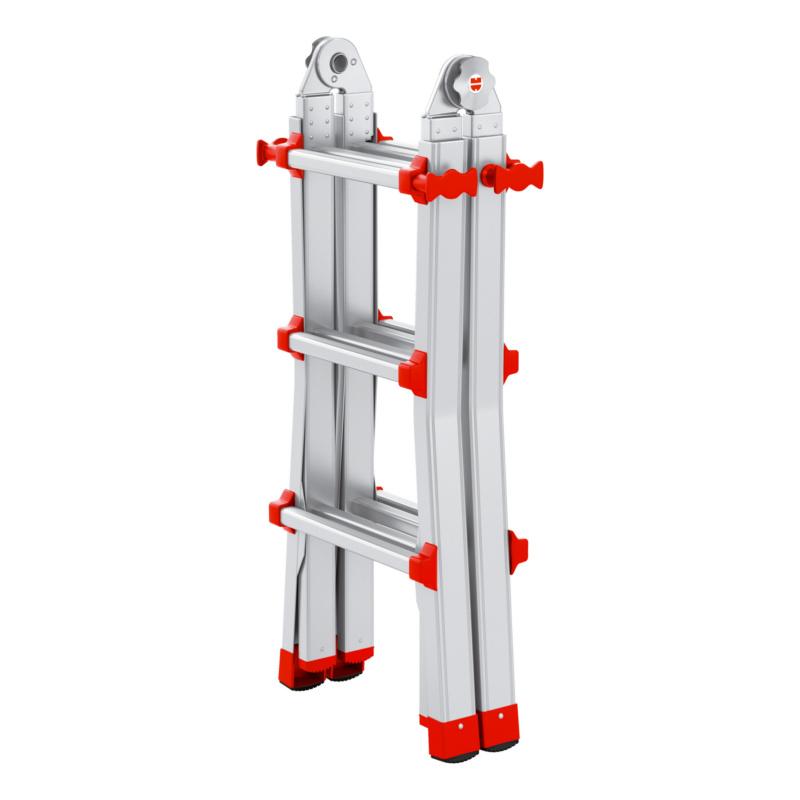 Alu-Profi-Teleskopleiter 4x3 Flexibel einsetzbar als Anlege-, Steh- und Treppenleiter, sowie als zwei separate Arbeitsböcke.