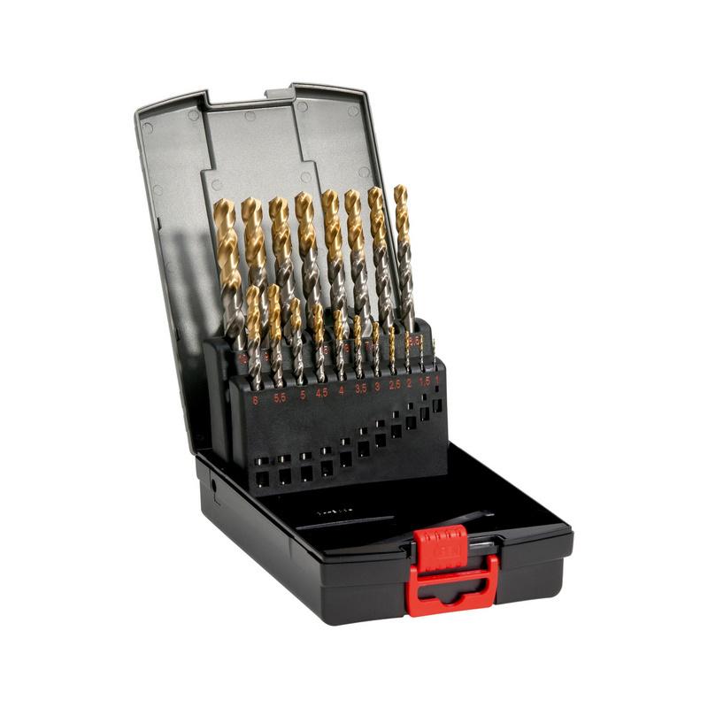 麻花钻组套 高速钢 DIN 338,氮化钛头,RN 型 - 氮化钛镀层麻花钻头组套-DIN338-HSS-(D1-10)-0.5