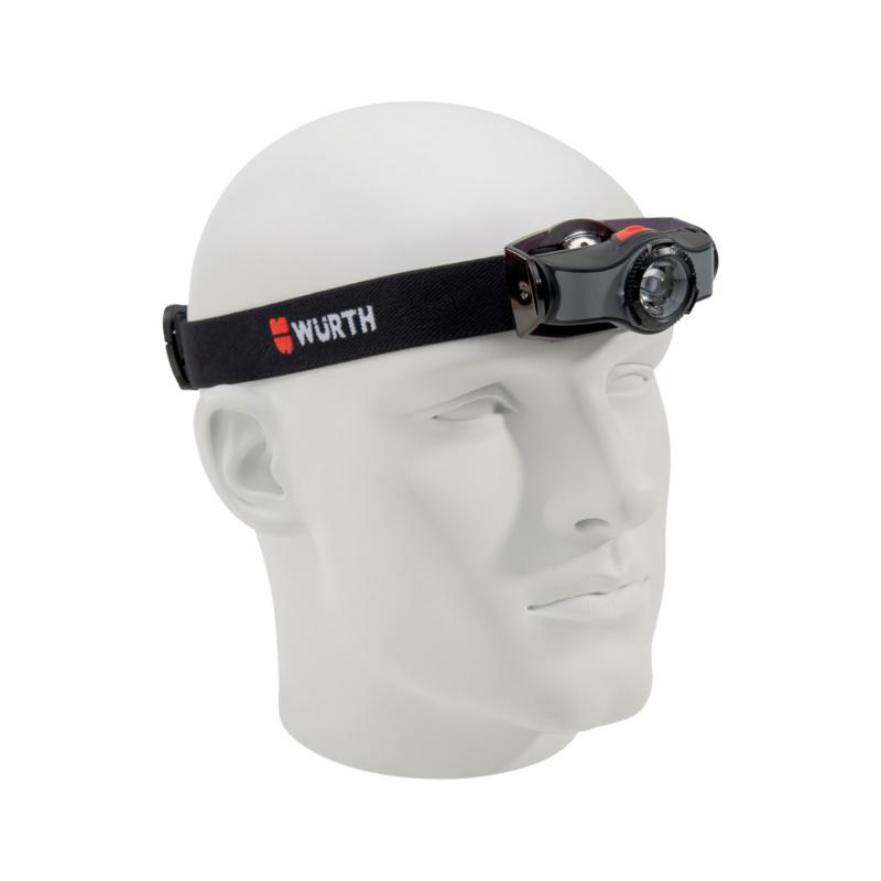 LED-Stirnleuchte SLA  Auch als Handleuchte einsetzbar (vom Kopfband abnehmbar), dimmbar und fokussierbar, 2 Lichtprogramme,iIntegrierter Halteclip, schwenkbarer Leuchtenkopf.