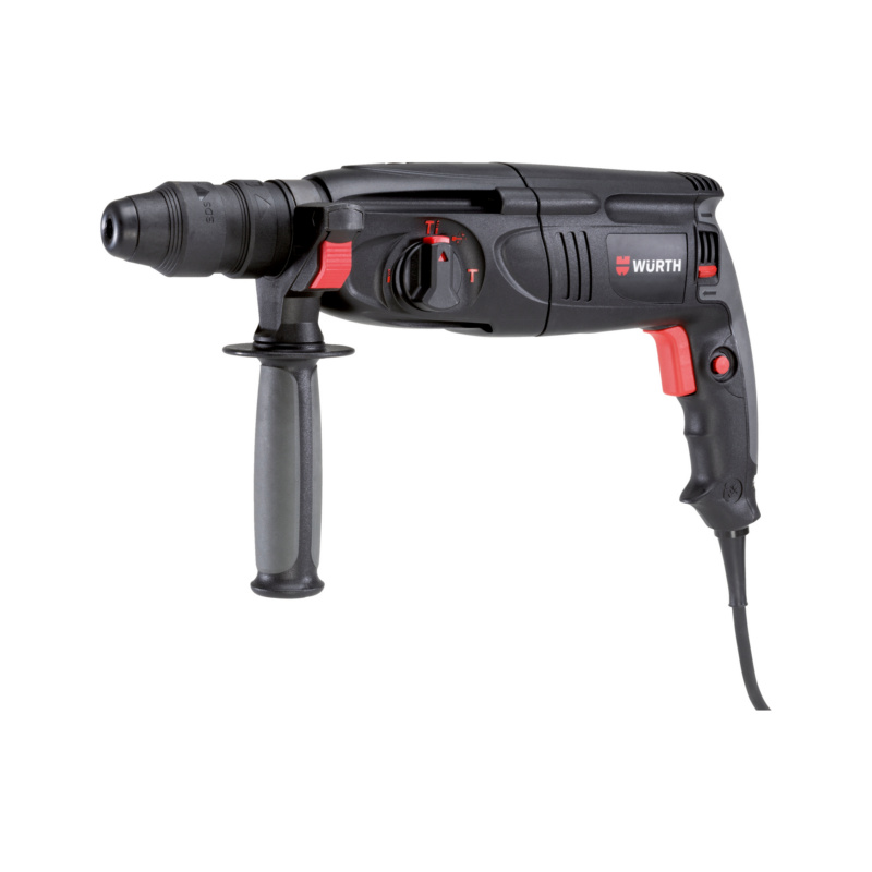 Bohrhammer H 26-MLS Art.-Nr. 5708 205 1<br><br>• Mit einstellbarer Meißel-Position (3-Modus-Funktion)<br>• Feststellbarer Schalter erhöht den Komfort bei längeren Bohr- und Meißelarbeiten<br>• Kugeltülle und drehbare Bürstenplatte