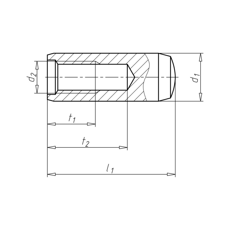 Cylindrical pin with female thread - PIN-CYL-DIN7979-HDND-D-M6-8X45
