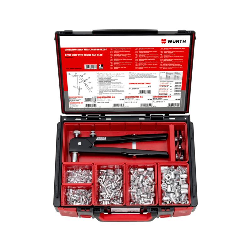 Einnietmuttern Flachrundkopf Sortiment     506-teilig im System-Koffer 4.4.1.  Aluminium