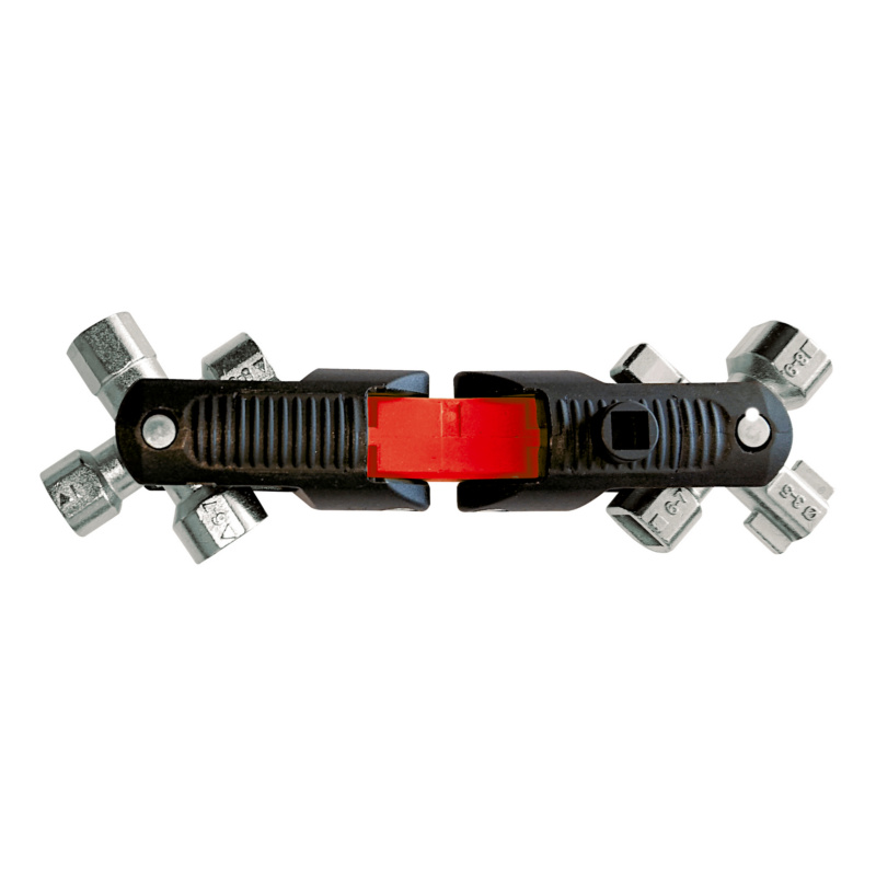 Universalschlüssel 10 in1, durch einen 2-fach Drehmechanismus können 8 verschiedene Schließköpfe in Position gebracht werden. Als Pistolengriff oder zusammengesteckter Variante einsetzbar