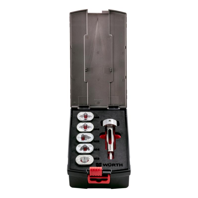 Schneideisenhalter für Bohrschrauber Innovativer, hochwertiger Adapter aus Stahl inklusive passender Schneideisenführungen M3-M8 zum schnellen Schneiden und Reparieren von Außengewinden, 6-teilig