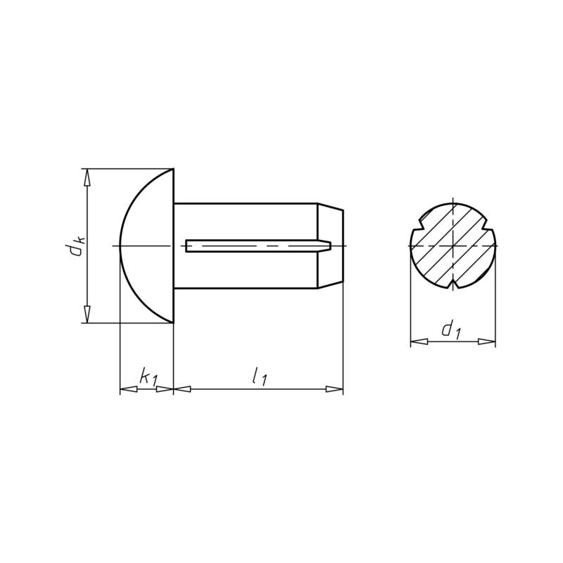Halbrundkerbnägel DIN 1476 Stahl blank