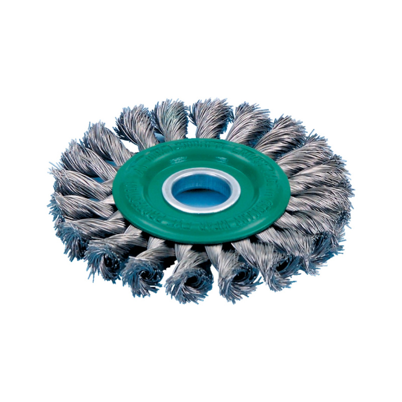 Round brushes — rust-free wire - RDBRSH-AG-VA-LEFT-KNOTTED-12500RPM-D115
