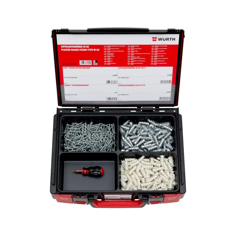Gipskartondübel W-GS Sortiment  401-teilig im System-Koffer 4.4.1. Für untergeordnete Befestigungen in Gipskarton-/ Gipsfaserplatten und Leichtbauplatten.