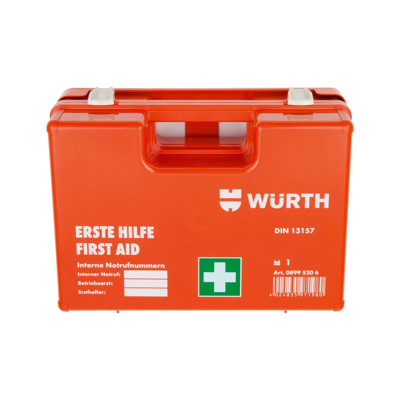 Erste Hilfe Koffer, DIN 13157, 67-teilig  Inkl. Wandhalterung mit 90° Arretierung