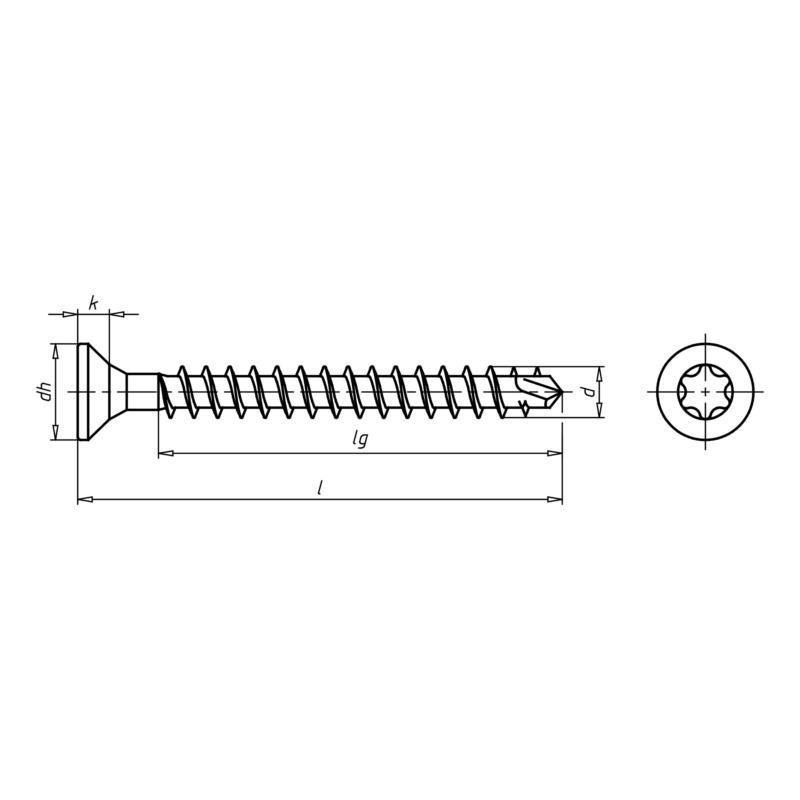 ASSY<SUP>®</SUP>plus FT, tête fraisée Vis pour construction bois - SCR-CS-WO-VG-AW50-(A3K)-10,0X200/177