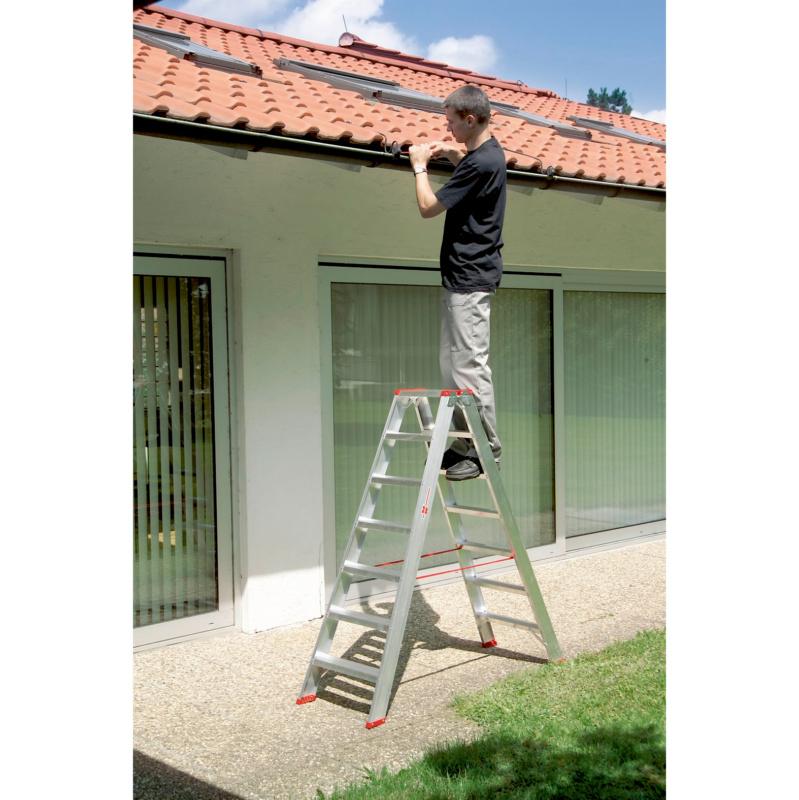 Hliníkový dvojitý rebrík Bezpečné našľapovanie na stupňoch s hĺbkou 90 mm - 2