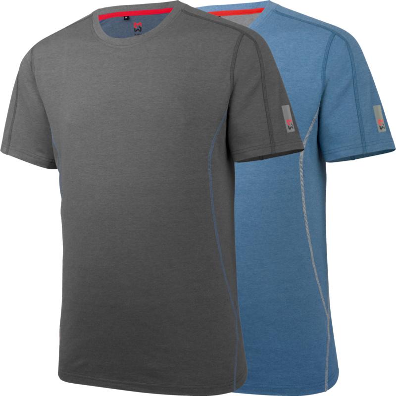 Nature T-Shirt Art.-Nr.  M446 361 ... (grau)<br>Art.-Nr.  M446 362 ... (blau)<br><br>• UV-Schutz 50, Biobaumwoll-Jerseygewebe, Bambusfaser<br>• Saum und Ärmel mit reflektierendem Logoprint<br>• Größen: XS-3XL
