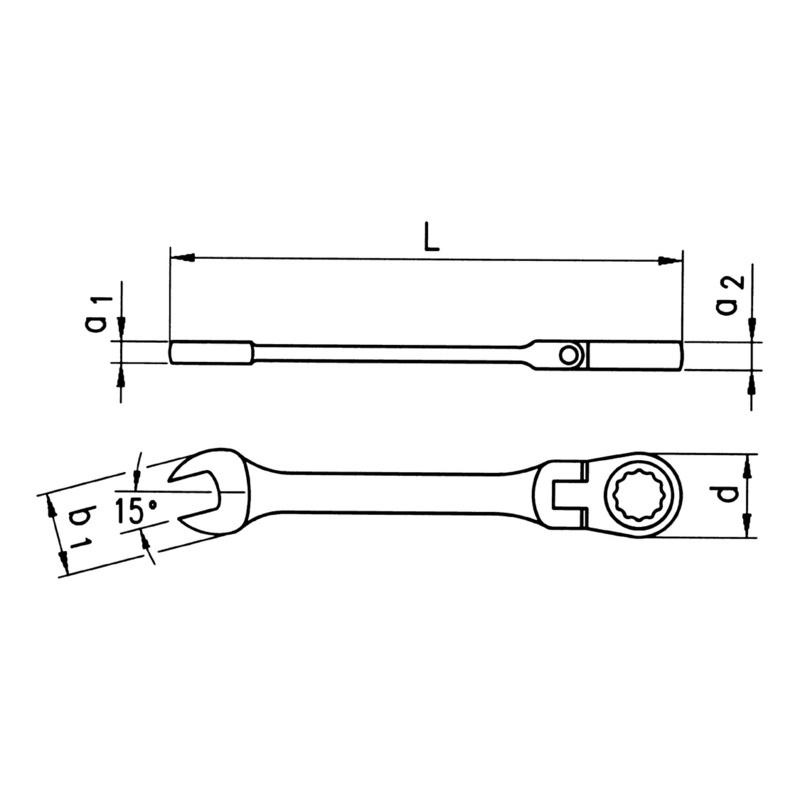 棘齿组合扳手,柔性抛光 - ZEBRA 棘轮扳手 - 16MM