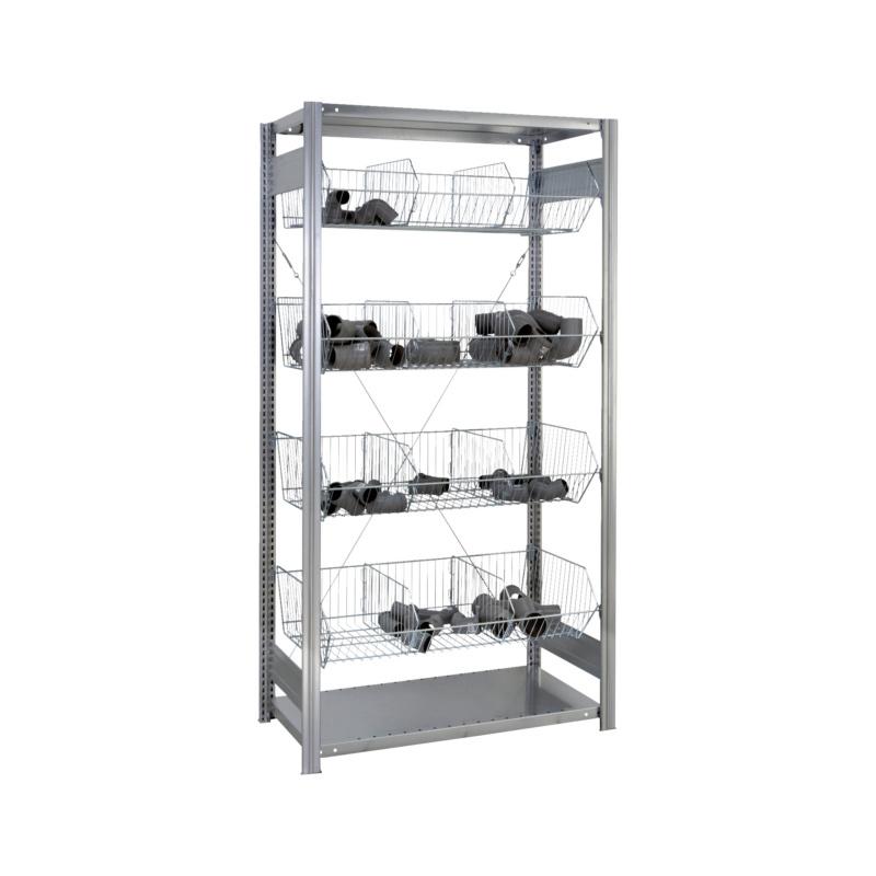 Gitterkorb-Steckregal mit Gitterkörben für mittlere Belastungen zur Lagerung von Kleinteilen