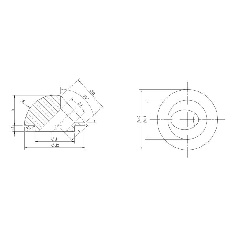 Rondelle orientée à 45°, trou rond - RONDELLE D'ANGLE 45° RONDE 2-3