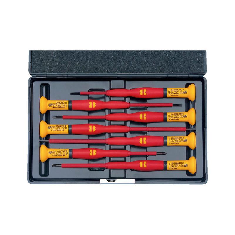 VDE-Feinmechanikerschraubendreher-Sortiment Schlitz/PH  7-teilig mit fünf Schlitz- und zwei Kreuzschlitzschraubendrehern