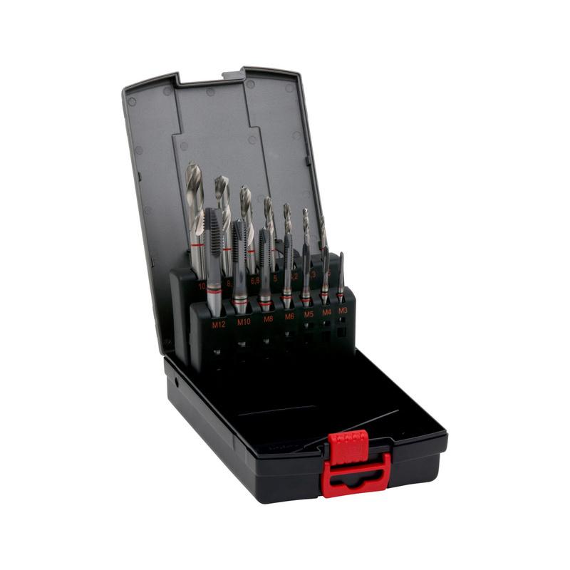 Gépi menetfúró készlet Piros gyűrűs, átmenő furat M3-M12 - MENETFÚRÓ-ÁTF-KLT-HSCO-TIALN-PRS-M3-M12