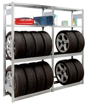 Garagen-Steckregal zur Lagerung von Reifen und Autozubehör