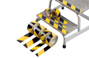 Warnmarkierungsgewebeband  Erhältlich in den Breiten 50 und 75 mm, 50 m links- oder rechtsweisend.