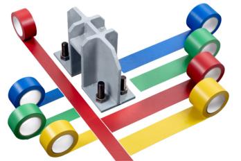 Bodenmarkierungsklebeband Heavy Duty Erhältlich in den Breiten 50 und 75 mm, erhältlich in den abgebildeten Farben.
