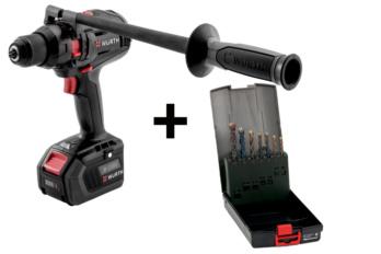 Akku-Schlagbohrschrauber und Mehrzweckbohrerkassette Leistungsstarker 18 Volt Akku-Bohrschrauber  ABS 18 POWER COMBI M-CUBE® , mit Mehrzweckbohrerkassette MFD-S Zylinderschaft.