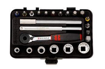 ZEBRA® 1/4''  Multi-Steckschlüssel-Sortiment Mini 23-teilig. Kompaktes Spezialwerkzeug mit Bit-Knarre, Multisteckschlüssel und Adapter.