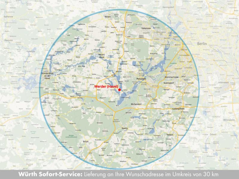 Lieferung im Umkreis von 30 km der Niederlassung für Sofort-Serivce-Bestellung