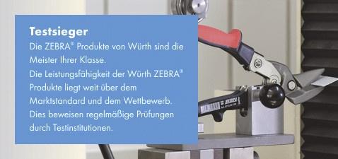 Testsieger - Die ZEBRA Produkte von Würth sind die Meister Ihrer Klasse. Die Leistungsfähigkeit der Würth ZEBRA Produkte liegt weit über dem Marktstandard und dem Wettbewerb. Dies beweisen regelmäßige Prüfungen durch Testinstitutionen.
